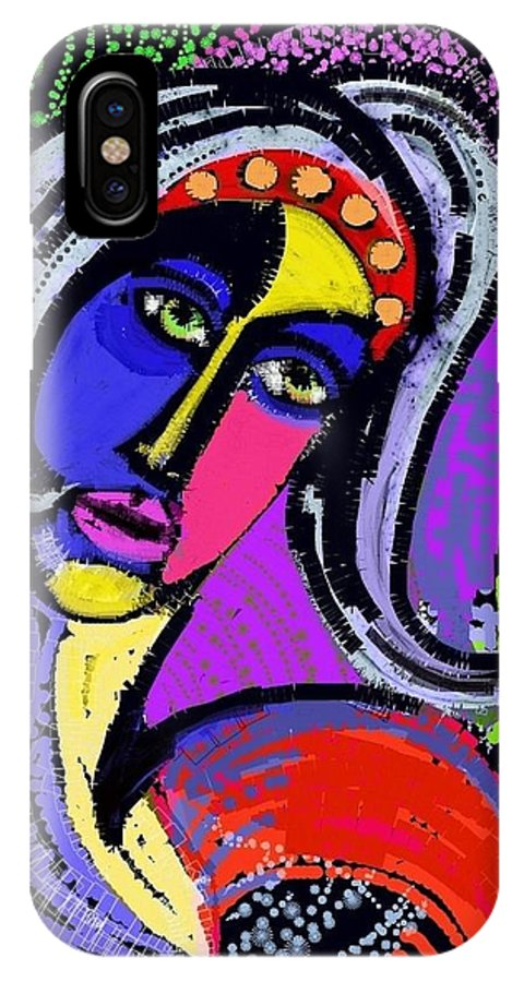 Neon IPhone X Case featuring the digital art Esther by Jo Shamma McShain