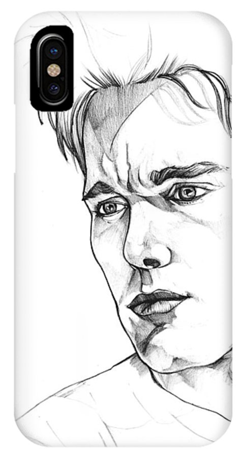 Ethan Hawke IPhone X Case featuring the drawing Ethan Hawke by John Ashton Golden