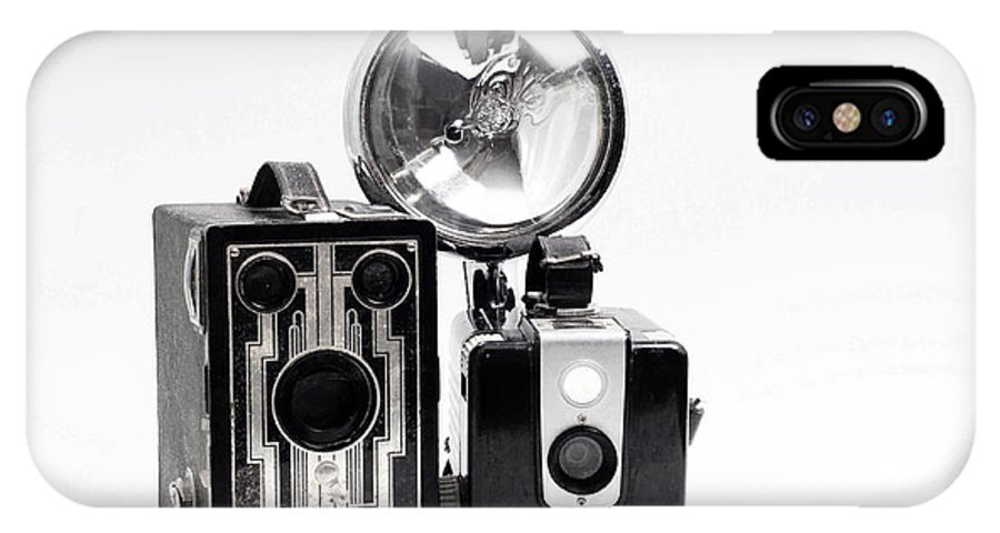 Camera IPhone X Case featuring the digital art European Travelers Mother And Daughter Cameras Bw by Andee Design