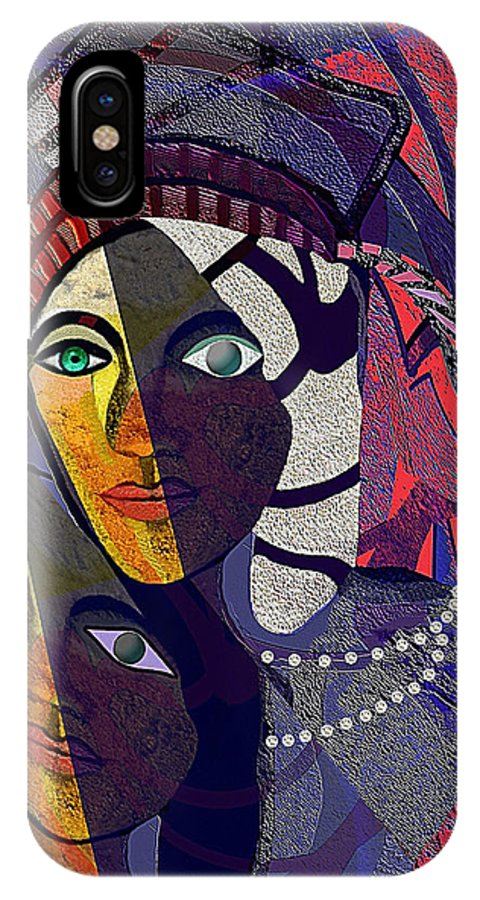 Woman IPhone X Case featuring the painting 105 Even With One Eye You Can See  by Irmgard Schoendorf Welch
