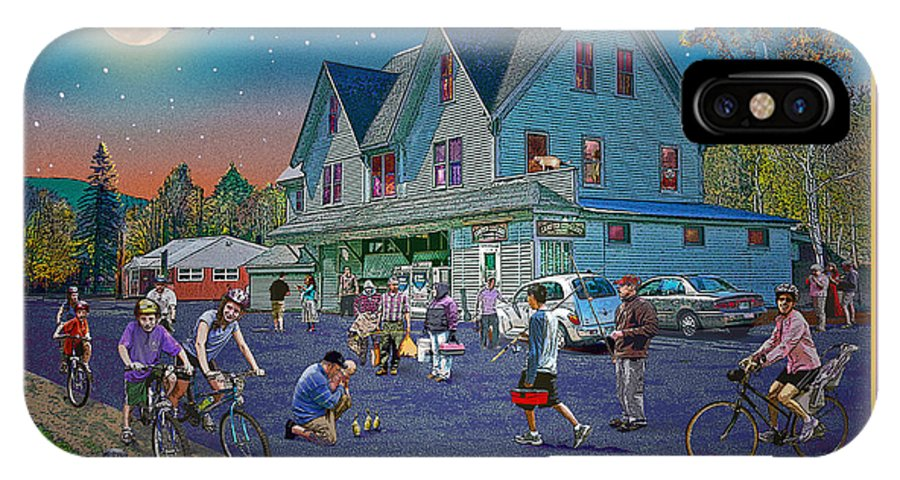 Fishing IPhone X Case featuring the digital art Evening In Campton Village by Nancy Griswold