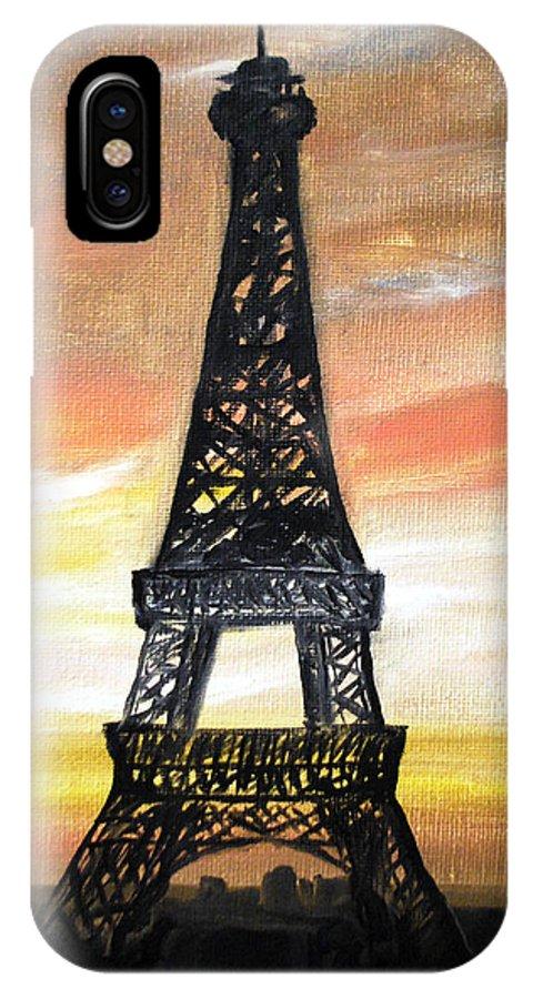 Paris IPhone X Case featuring the painting Evening In Paris by Laura Herzog