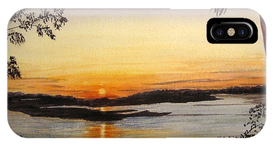 Sunset IPhone X Case featuring the painting Evening Marsh by Julia RIETZ