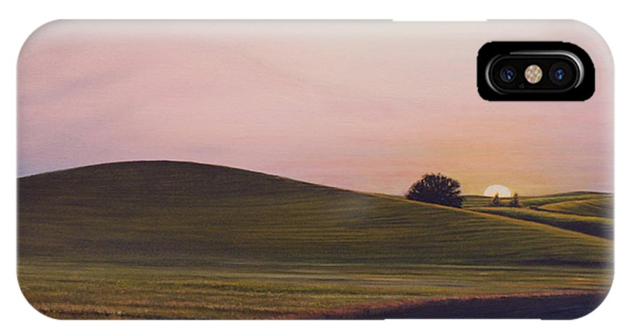 Wheat IPhone X Case featuring the painting Evening Near Viola by Leonard Heid