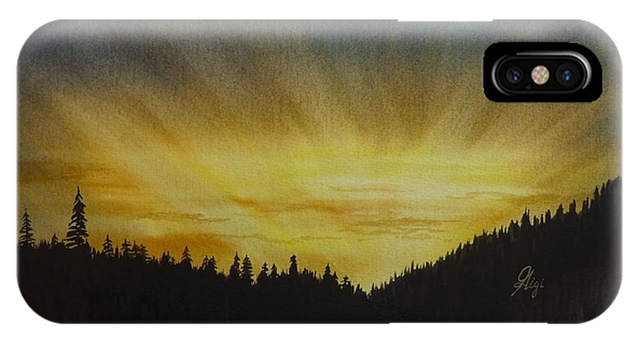Sunset IPhone X / XS Case featuring the painting Evening Splendour by Gigi Dequanne