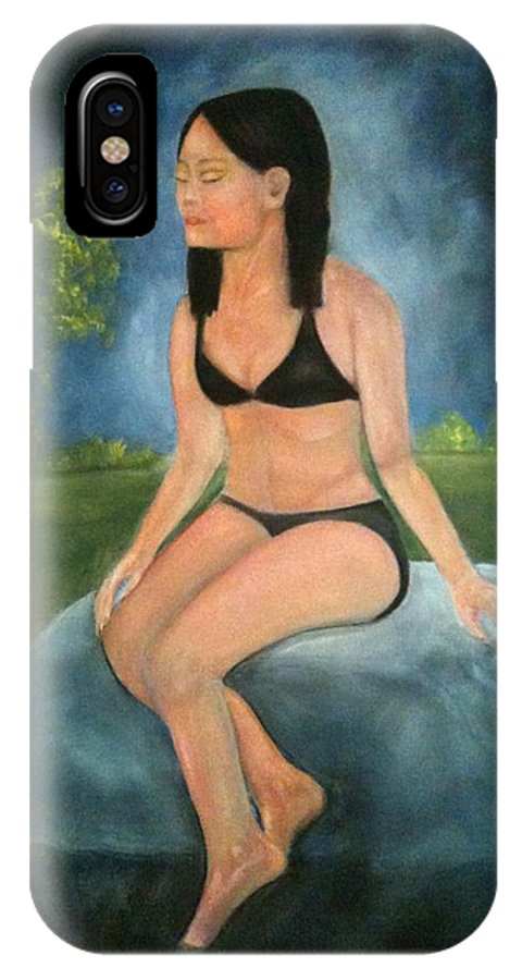 Woman IPhone X Case featuring the painting Evening Swim by Sheila Mashaw