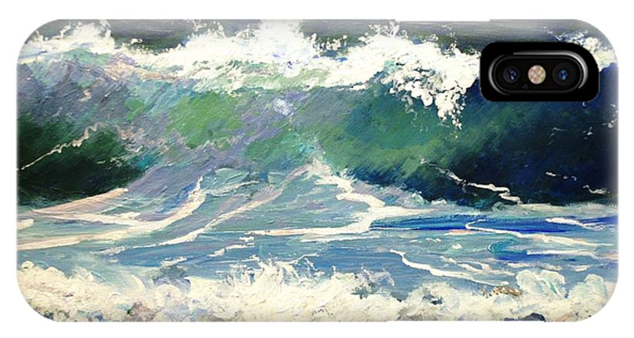 Wave IPhone X Case featuring the painting Evening Wave by Keith Wilkie