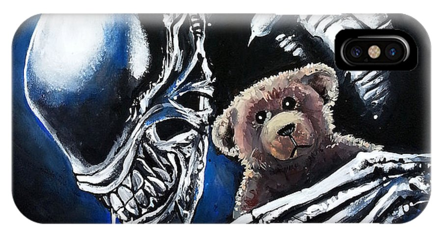 Alien IPhone X Case featuring the painting Everyone Needs A Teddy Bear by Tom Carlton