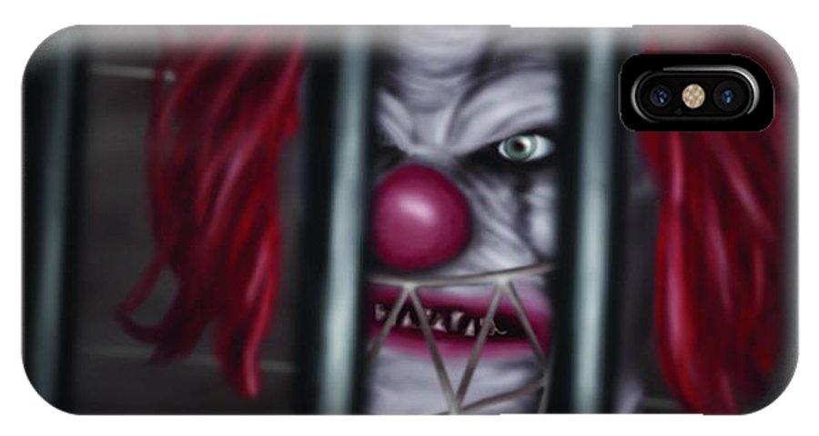 Evil Clown IPhone X Case featuring the digital art Evil Clown by Vassilis Anastassakis