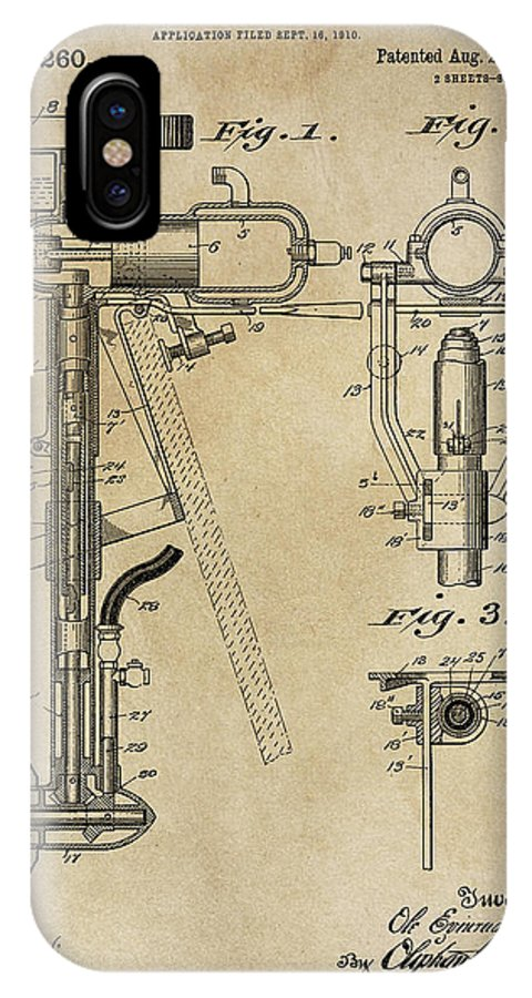 Evinrude IPhone X Case featuring the photograph Evinrude Outboard Marine Engine Patent 1910 by Daniel Hagerman