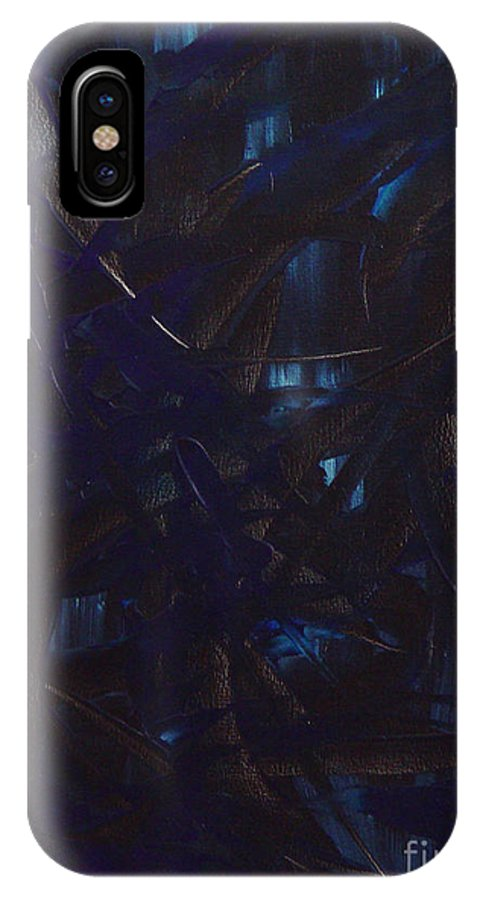 Abstract IPhone X Case featuring the painting Expectations Blue by Dean Triolo