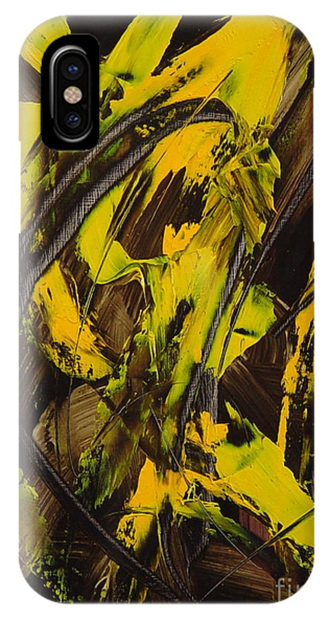 Abstract IPhone X Case featuring the painting Expectations Yellow by Dean Triolo