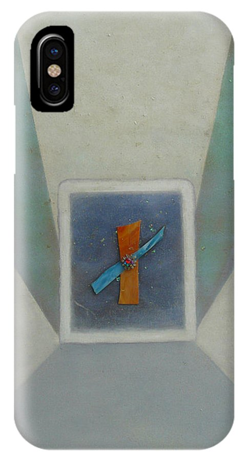 Abstract IPhone X Case featuring the painting Exploration B by Mary Ann Leitch