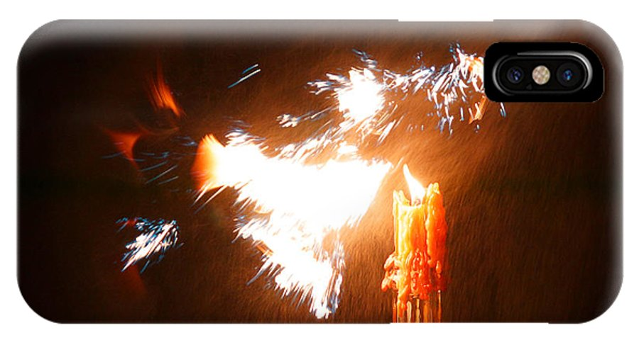 Explosive IPhone X Case featuring the photograph Explosive Candlelight by Mick Anderson