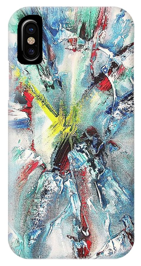 Mixed Media IPhone X Case featuring the painting Explosive Two by Suzanne Marie Leclair
