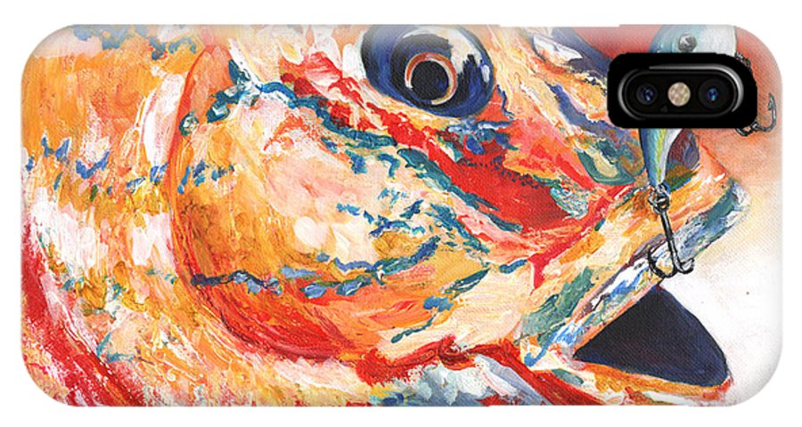 Expressionism IPhone X Case featuring the painting Expressionist Blue Gill On Lure by Sonya Barnes