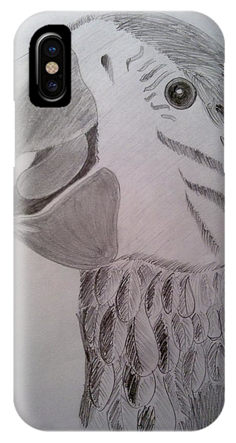 Pencil Shading IPhone X Case featuring the drawing Expressive Parrot by Poornima Ravi