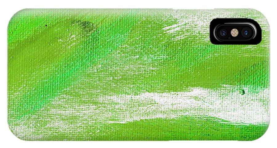 Abstract IPhone X Case featuring the painting Exuberant Emerald Green by L J Smith