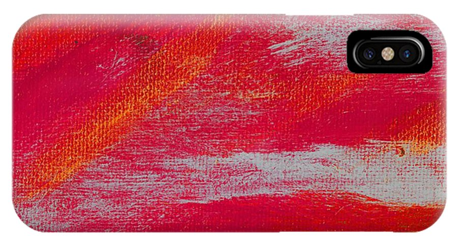 Abstract IPhone X Case featuring the painting Exuberant Orange by L J Smith