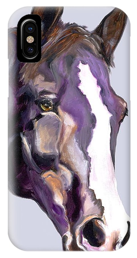 Thoroughbred IPhone Case featuring the painting Eye On The Prize by Susan A Becker