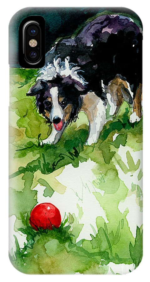 Border Collie IPhone X Case featuring the painting Eye On Tthe Ball by Molly Poole