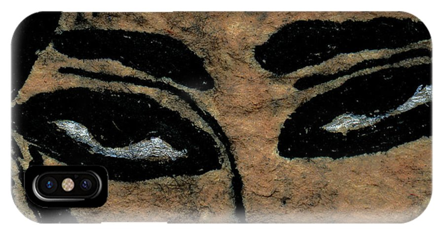 Eye IPhone X / XS Case featuring the drawing Eyes Of The Ancient Egyptian Musician by Jennifer Atherton