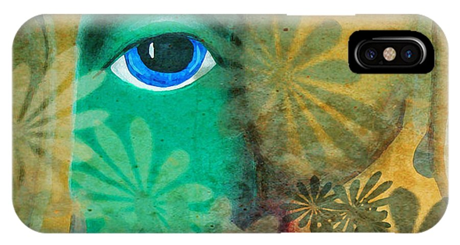 Abstract Faces IPhone X Case featuring the painting Eyes Of The Beholder by Catherine Harms