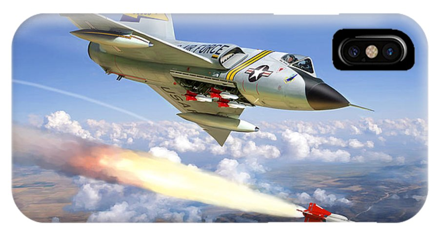 Aviation IPhone X Case featuring the painting F-106 Delta Dart 5th Fis by Mark Karvon