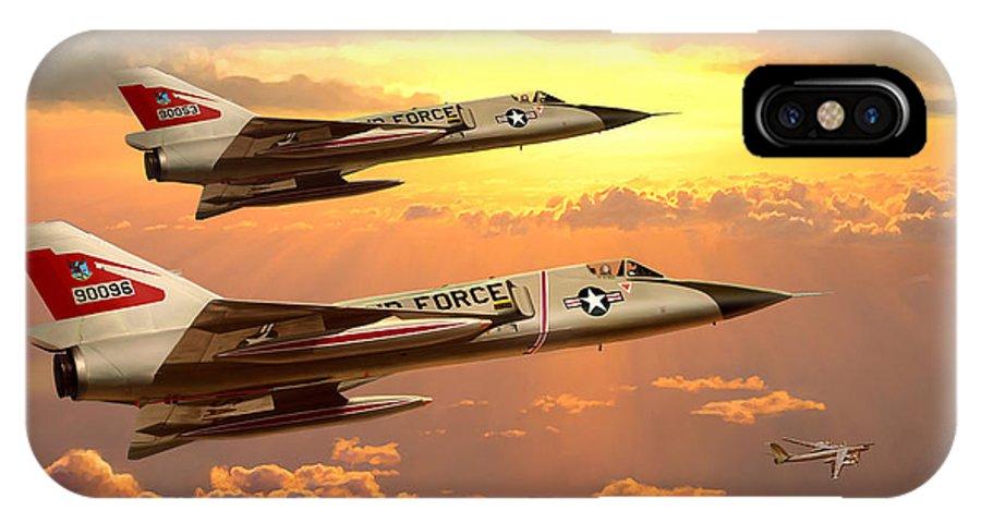 Aviation IPhone Case featuring the painting F-106 Delta Dart Intercept by Mark Karvon