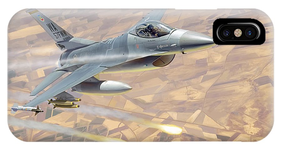 Aviation IPhone Case featuring the painting F-16 Fighting Falcon by Mark Karvon