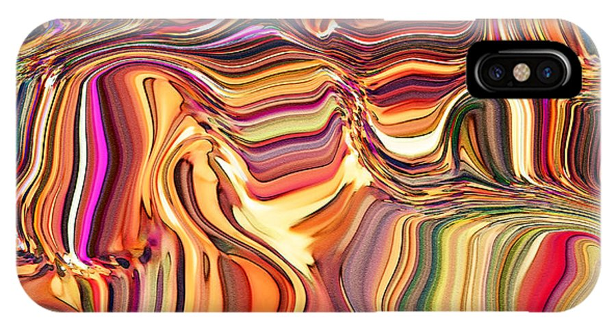 Abstract IPhone X Case featuring the digital art Fabric Fair by Debbie Portwood