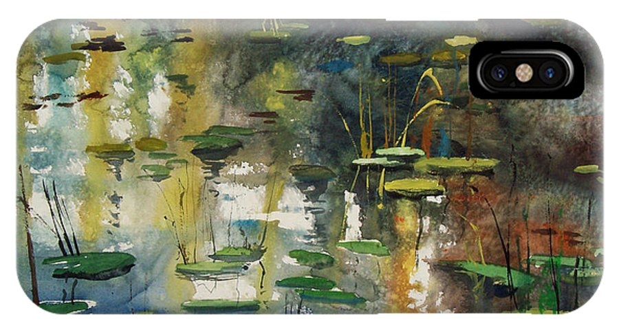 Watercolor IPhone X Case featuring the painting Faces In The Pond by Ryan Radke