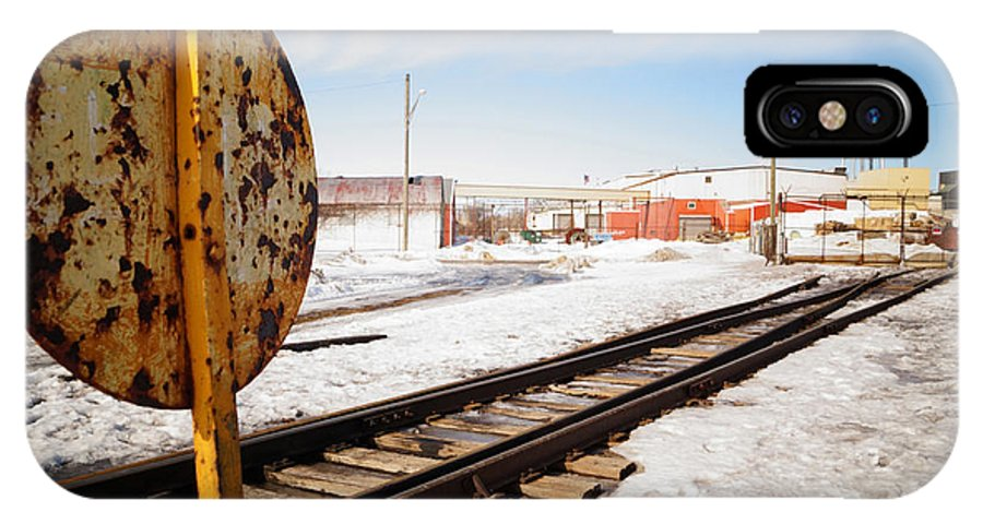Railroad IPhone X Case featuring the photograph Factory Railroad by Shawn Smith