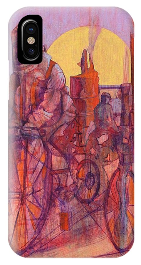 Surreal Figures On Bicycles And Machines IPhone X Case featuring the painting Fahrenheit 451 by J W Kelly