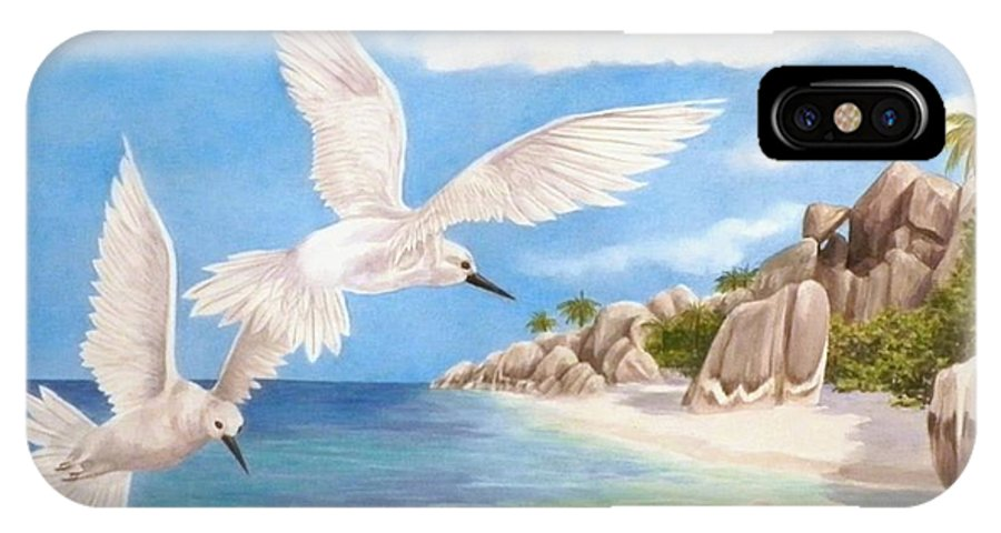 Birds IPhone X Case featuring the painting Fairy Terns Ladigue by Janet Summers-Tembeli
