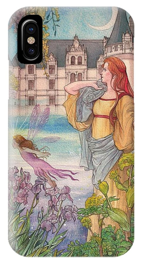 Fairytale IPhone X Case featuring the painting Fairytale Nocturne Castle by Judith Cheng