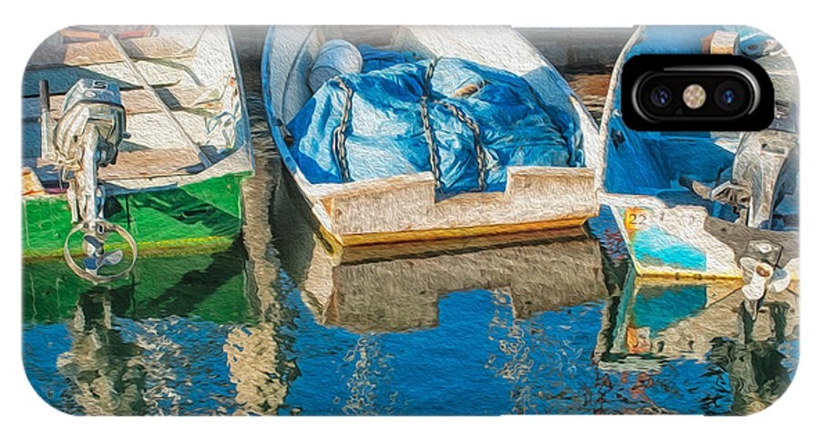 Boats IPhone X Case featuring the photograph Faithful Working Boats by Joan Herwig