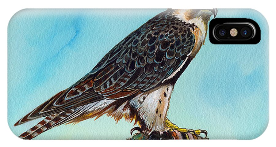 Falcon IPhone X Case featuring the painting Falcon On Stump by Anthony Mwangi