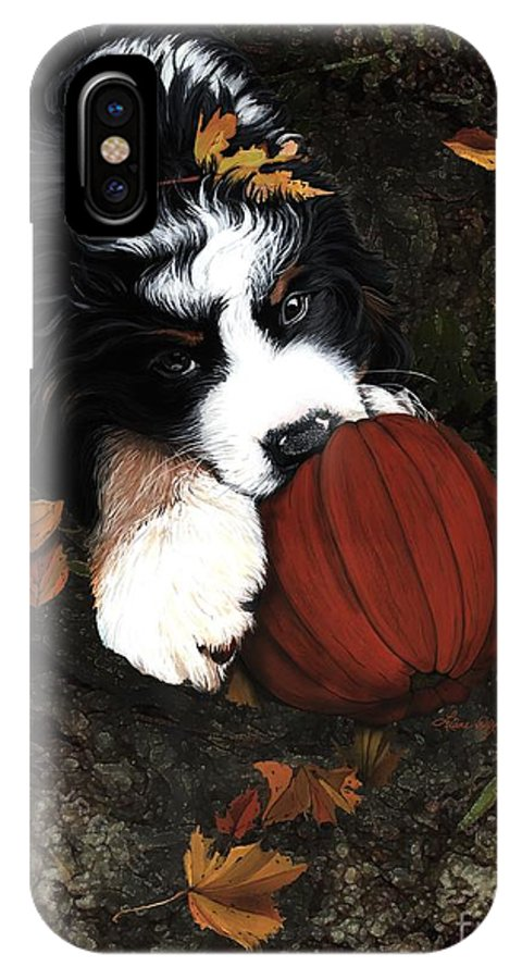 Bernese Mountain Dog IPhone X Case featuring the painting Fall 4 U by Liane Weyers