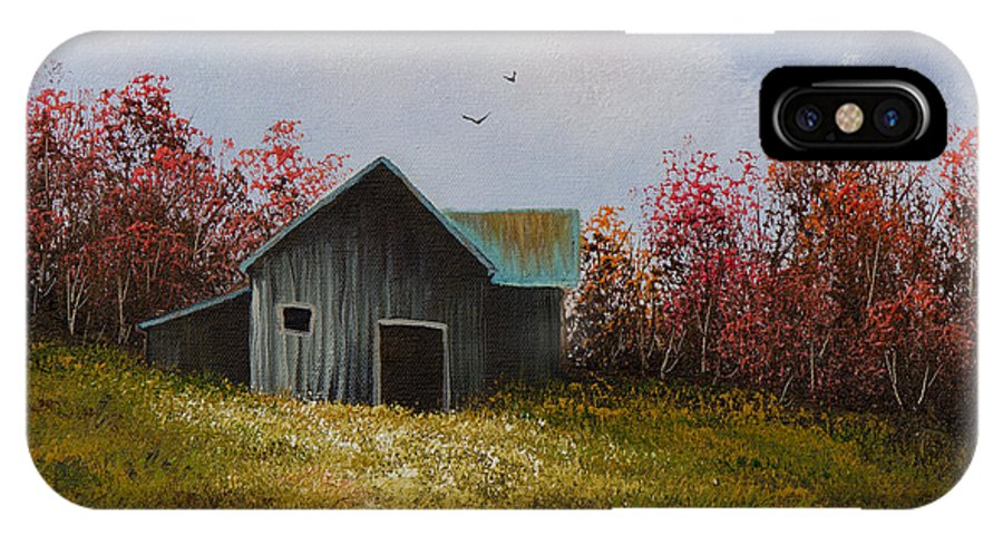 Barn IPhone X Case featuring the painting Fall Begins by Chris Steele