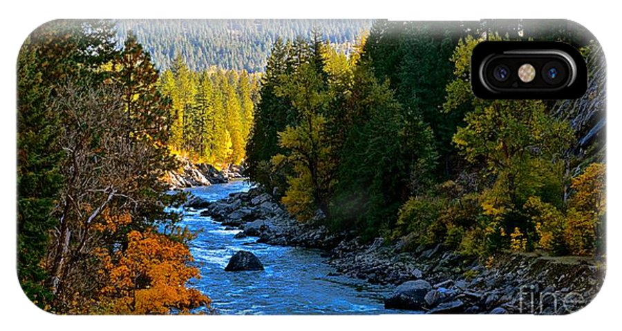 Landscape IPhone X Case featuring the photograph Fall Colors On The Wenatchee River by Lisa Telquist