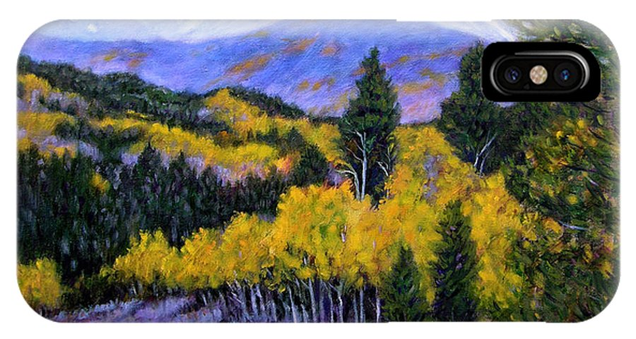 Rocky Mountains IPhone X Case featuring the painting Fall in the Rockies by John Lautermilch
