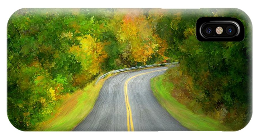 Fall IPhone X Case featuring the painting Fall Is Coming Country Road by Bruce Nutting