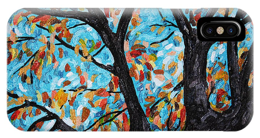 Fall IPhone X Case featuring the painting Fall Leaves by Bridget Brummel