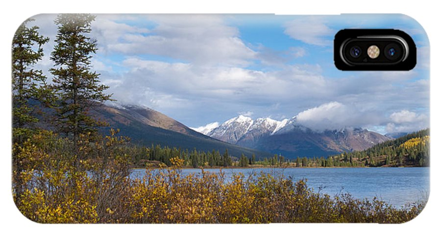 Adventure IPhone X Case featuring the photograph Fall Mountain Landscape Of Lapie Lake Yukon Canada by Stephan Pietzko
