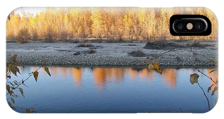 Blue IPhone X Case featuring the photograph Fall Reflection 2 by Jewel Hengen