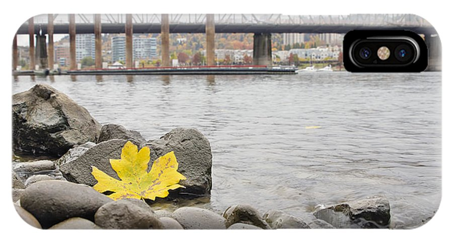 Fall IPhone X Case featuring the photograph Fall Season Along Portland Willamette River By Marina by David Gn