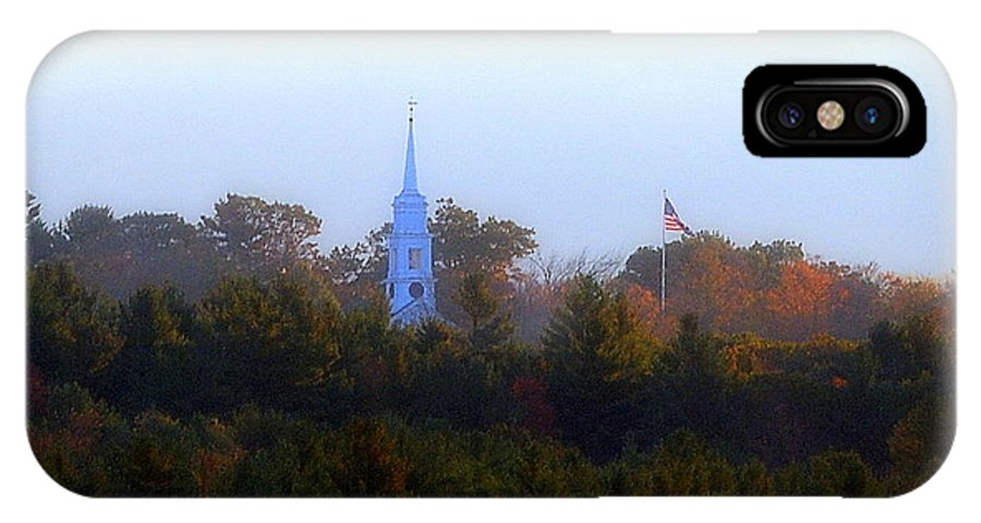 Autumn IPhone X Case featuring the photograph Fall Steeple by Tracy Vartanian