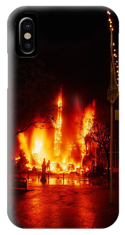 Falla IPhone X Case featuring the photograph Falla Burns At Midnight by Carl Purcell