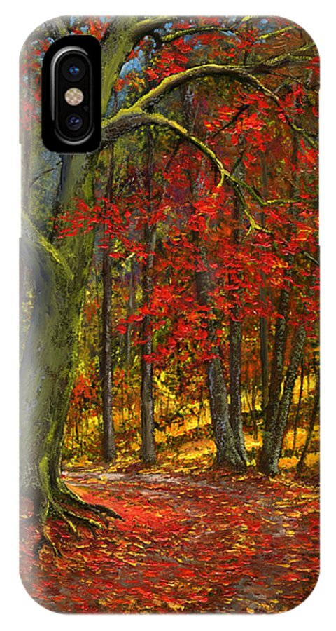 Landscape IPhone X Case featuring the painting Fallen Leaves by Frank Wilson